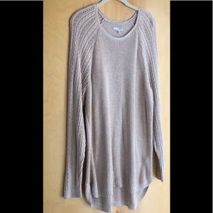 Sonoma soft tan long cable knit sweater size 1X